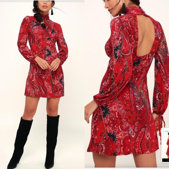 f347976e0fd73 Free People Dresses | Nwt All Doll Up Red Print Long Sleevem | Poshmark